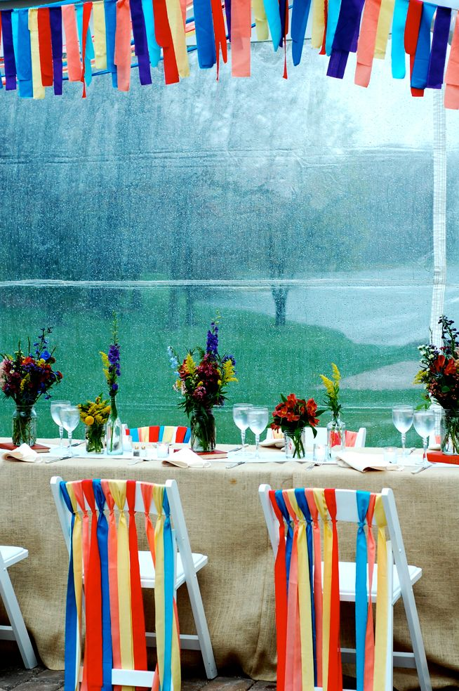 Colourful ribbon garlands for the ceiling and tables.