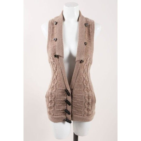 Alexander Wang Brown Cashmere Cable Knit Toggle Buttoned V Neck Sl ...