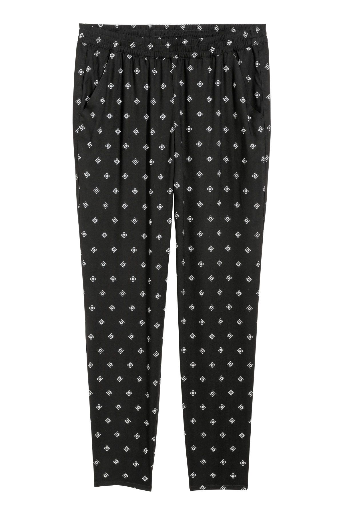 Black Patterned Pants In Woven Viscose With An Elasticized Waistband Side Pockets And Tapered Legs Regular Waist Ankle Length Pants Fashion Pull On Pants