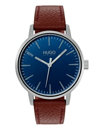 Photo of HUGO Men's #Stand Brown Leather Strap Watch 40mm & Reviews – All Fine Jewelry – Jewelry & Watches – Macy's