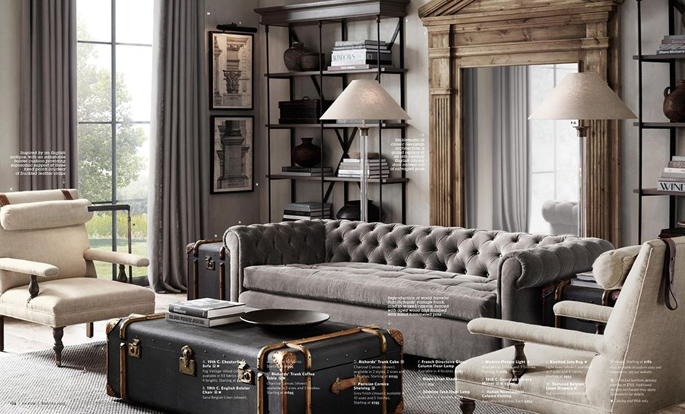 Restoration Hardware Catalog, Restoration Hardware Living Room