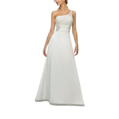 GEORGE BRIDE Elegant One Shoulder Sweep Train Beaded Wedding Dress $129.00