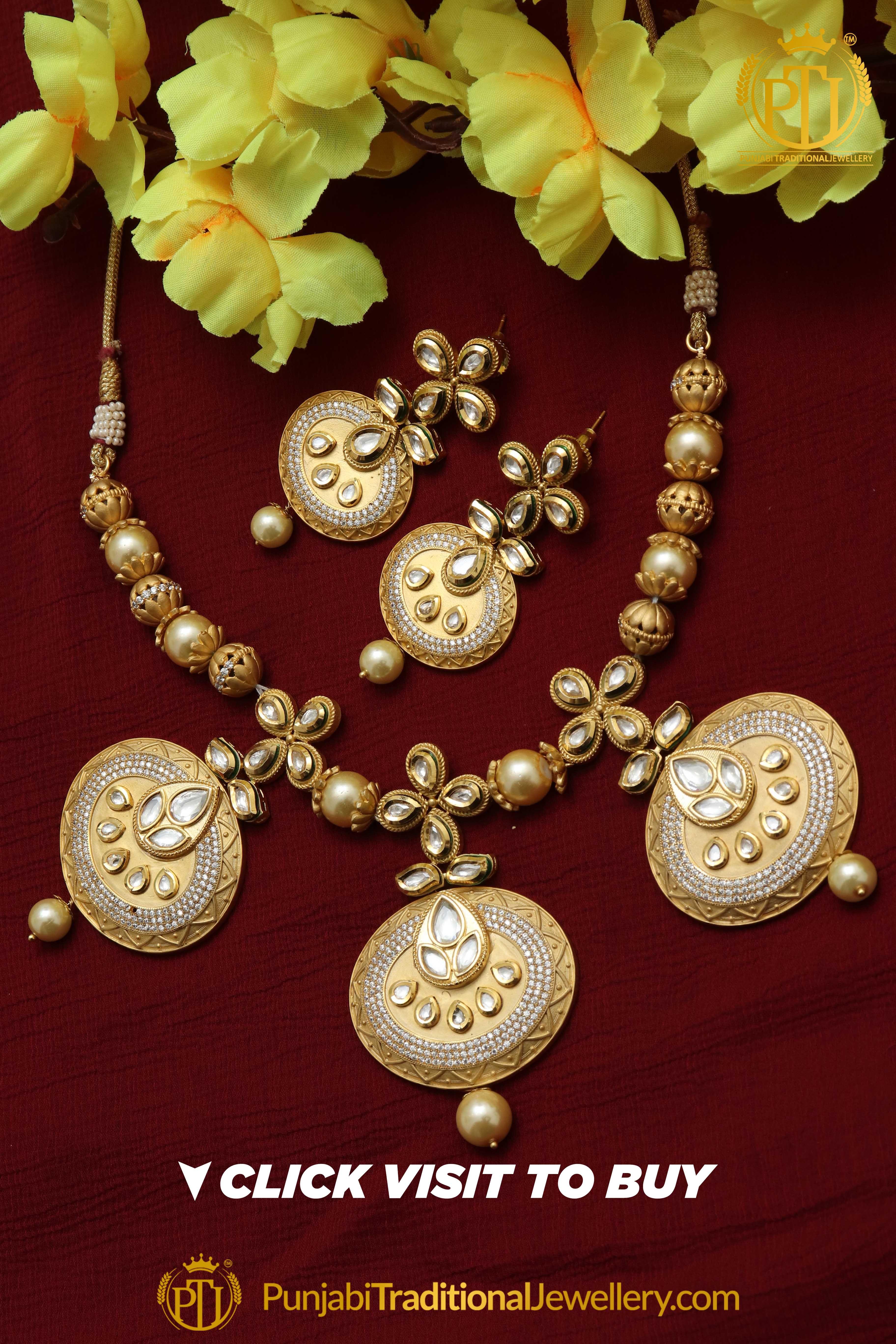 Matt gold kundan pearl necklace set by punjabi taditional