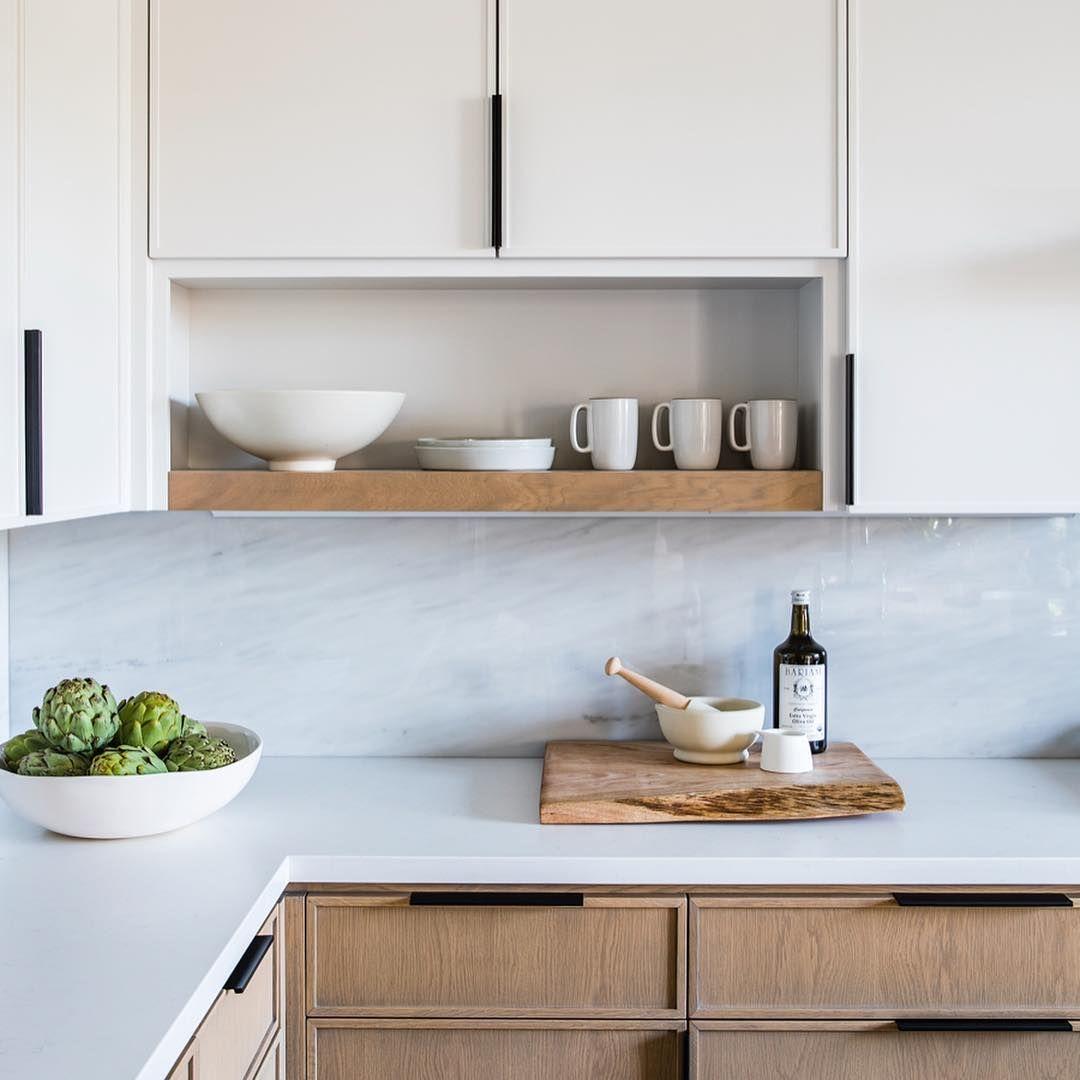 Modern Cabinet Profiles Marble Backsplash Open Shelving This Kitchen From Lauren Nelson Design Has Home Decor Kitchen Contemporary Kitchen Modern Kitchen
