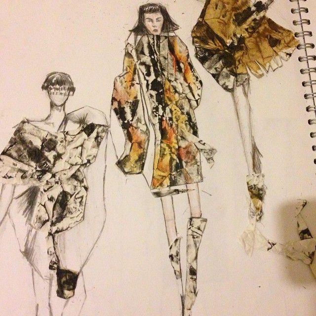 Samasti Rai - Working on my sketchbook #fashionillustration #sacks