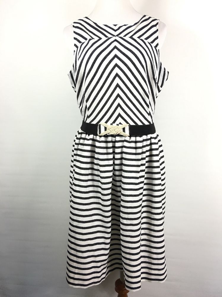 Modcloth Bea Dot Boardroom To Boardwalk Dress Black White Chevron