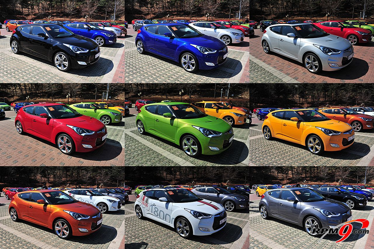 2012 hyundai veloster all 9 colors