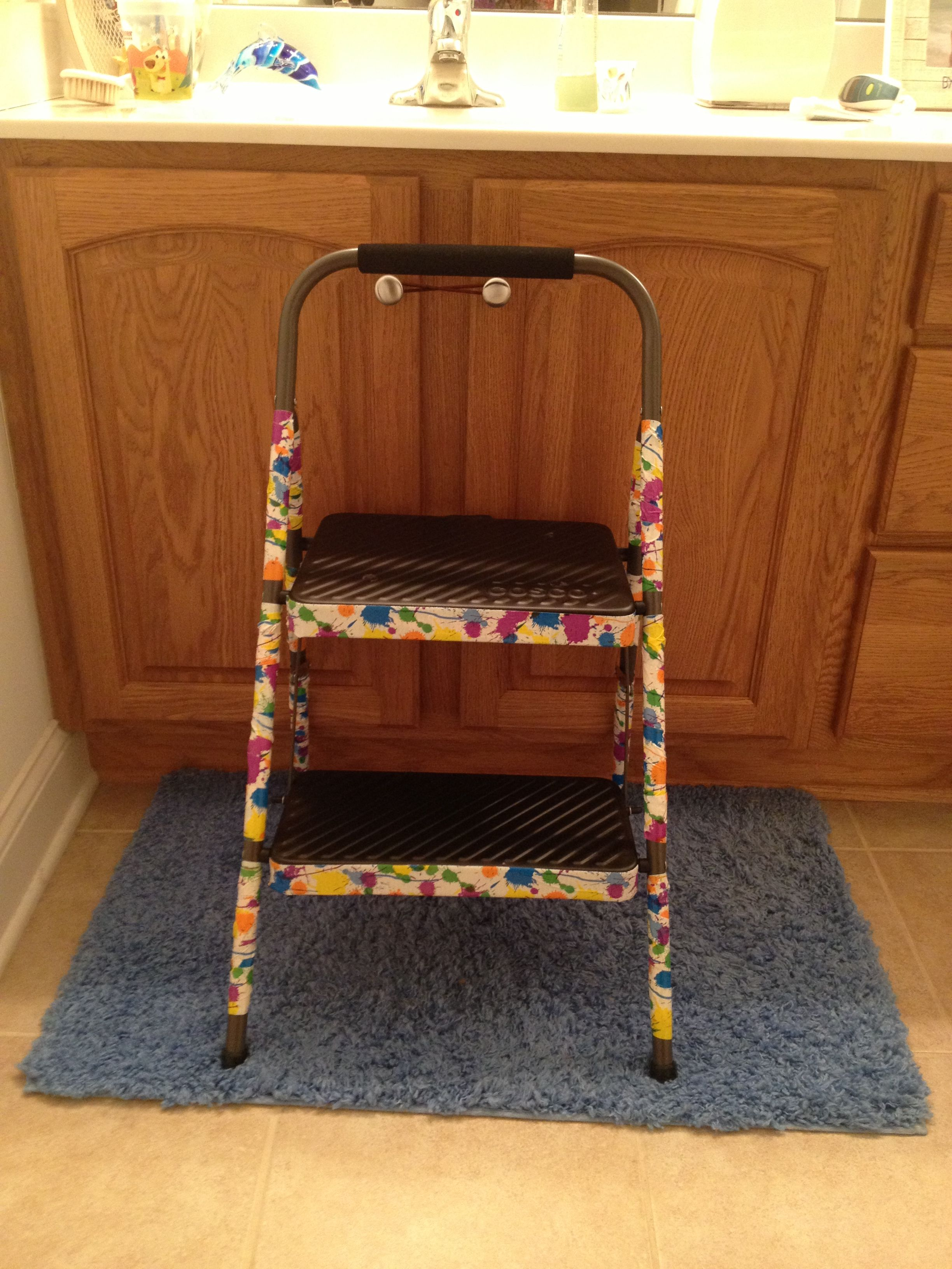 Make an ordinary hardware store step stool into a cute