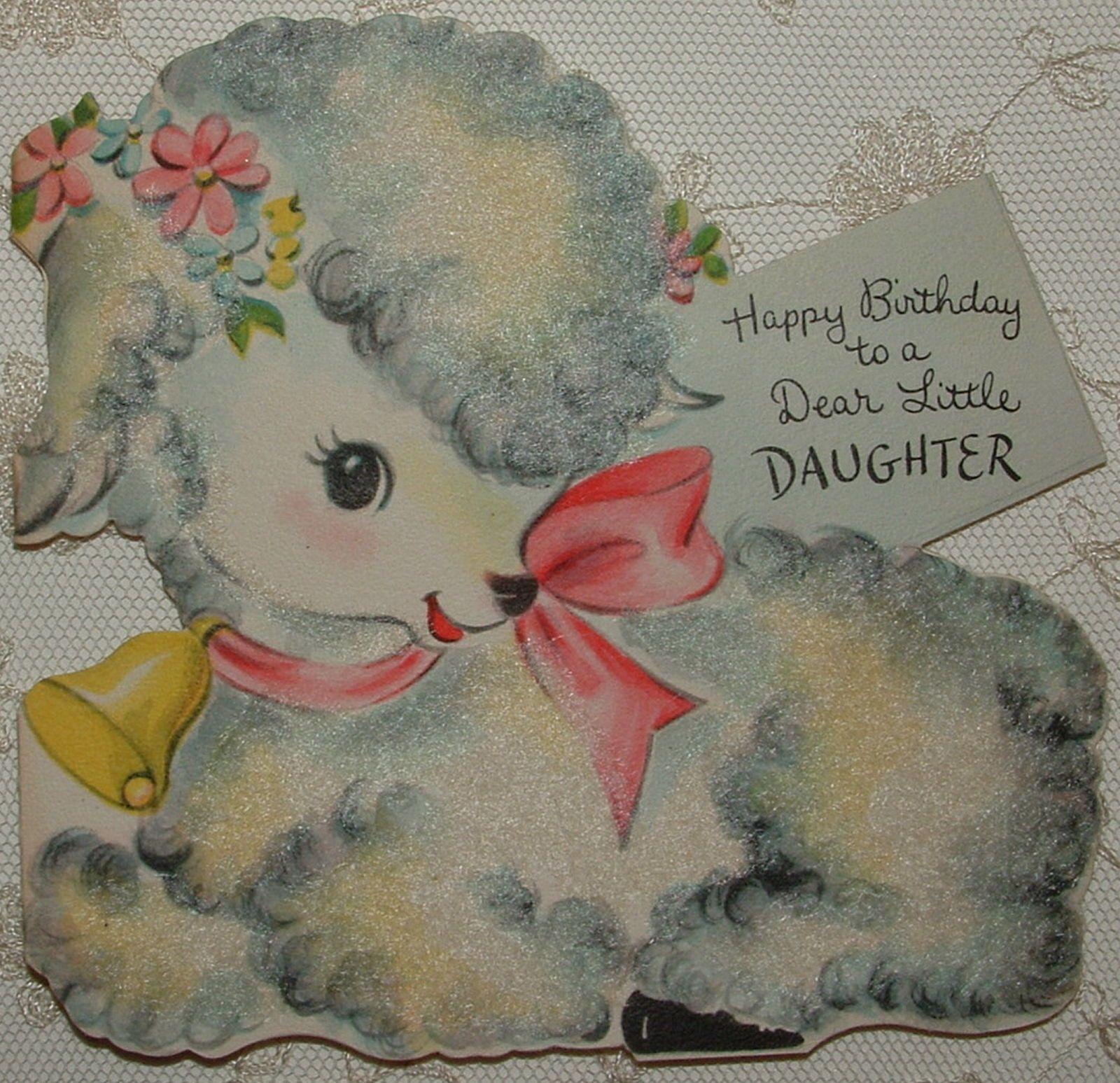 Die Cut Flocked Birthday Lamb 1949 Vintage Hallmark Greeting Card | eBay