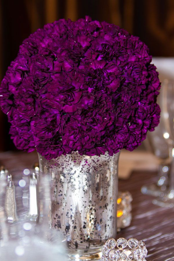 Mercury glass planters with purple carnations
