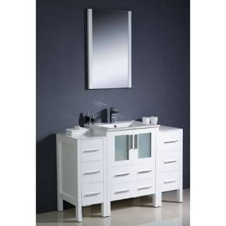 """Check out the Fresca FVN62-122412WH-UNS Torino 48"""" Modern Bathroom Vanity in White with 2 Side Cabinets and Undermount Sink - Vanity Top Included priced at $1,449.00 at Homeclick.com."""