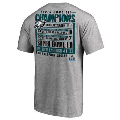 ea26d8d6d Men s Philadelphia Eagles NFL Pro Line by Fanatics Branded Heather Gray Super  Bowl LII Champions Gridiron Schedule T-Shirt