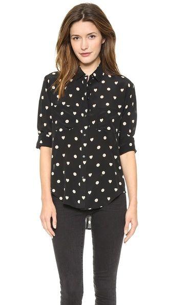 hearts silk blouse