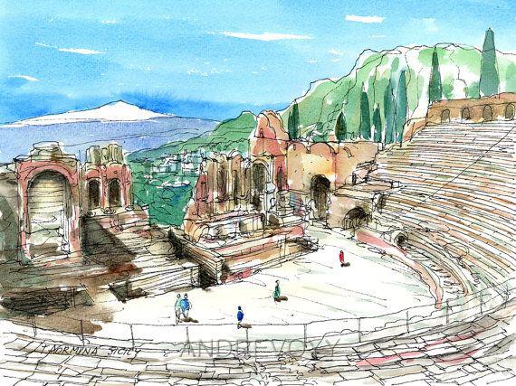 Taormina Sicily Italy art print from an original watercolor painting