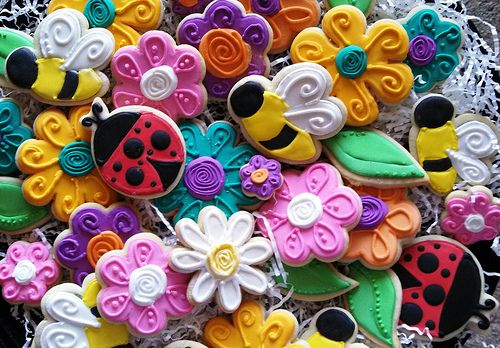 Decorated Spring flowers, lady bugs, bees, cookies!