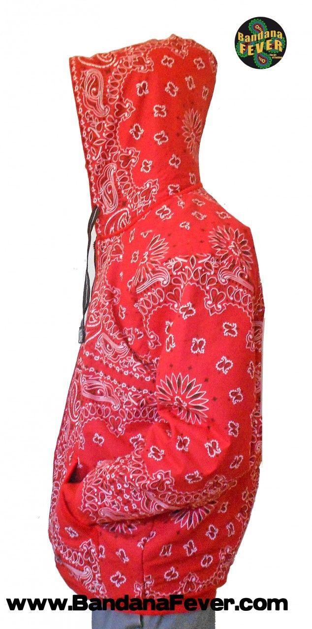 98f39a8f11f Bandana Fever - Bandana Fever Custom Whole Bandana Hoodie Zipper Red Red  Bandana
