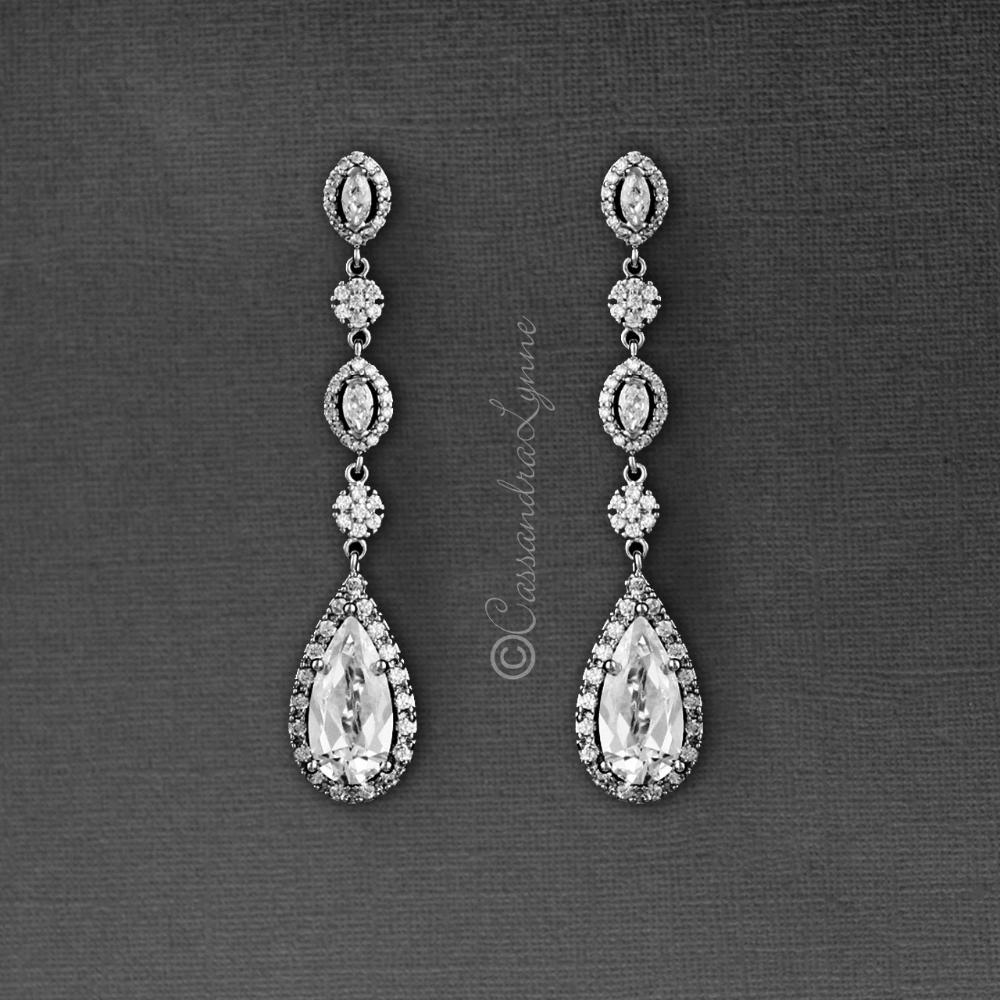 Clip On Cz Wedding Earrings Drops In 2020 Wedding Earrings Drop Wedding Earrings Cz Wedding Jewelry