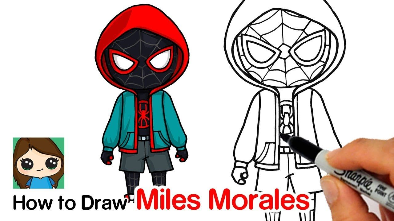 How To Draw Miles Morales Spider Man Into The Spider Verse Youtube Spiderman Drawing Miles Morales Drawing Lessons For Kids