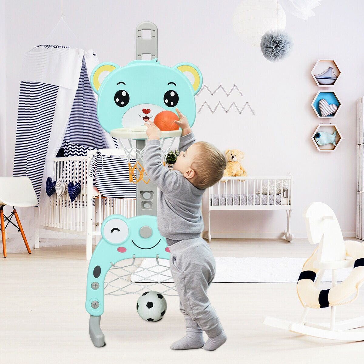 Adjustable Kids 3 In 1 Basketball Hoop Set Stand With