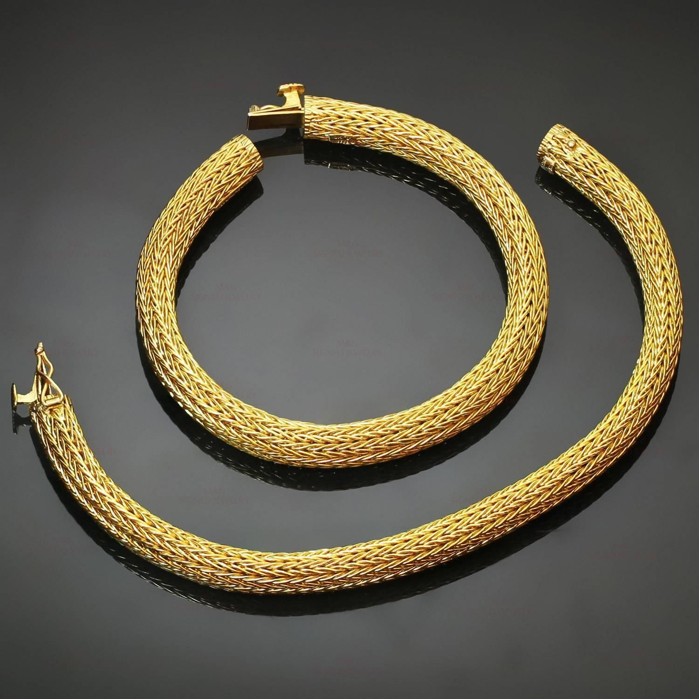 Ilias Lalaounis Pair of Gold Mesh Bracelets 1stdibscom Viking