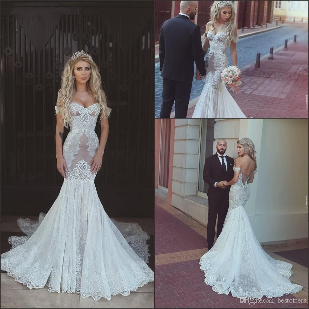 Sexy mermaid wedding dresses new off the shoulder with lace