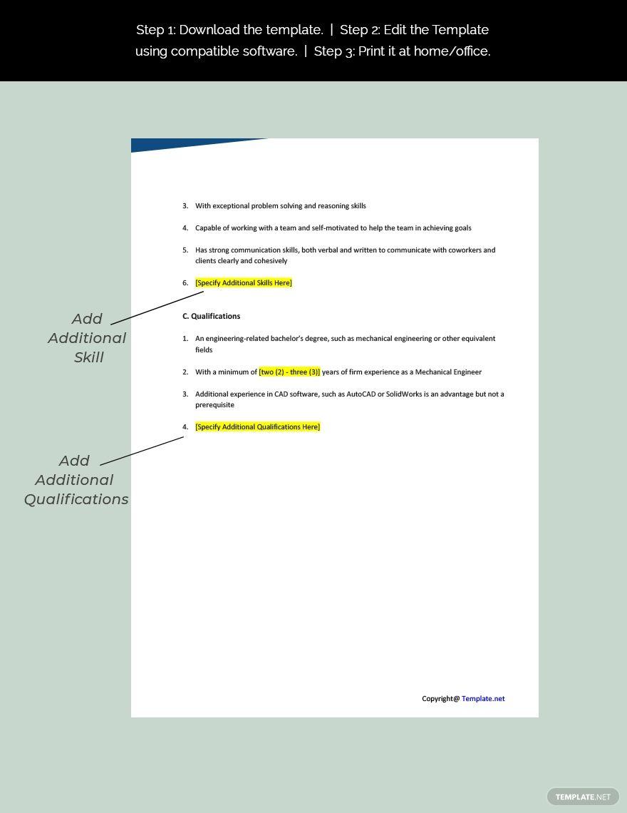 Mechanical Engineer Job Description Template Free Pdf Google Docs Word Apple Pages Template Net Job Description Template Job Ads Job Description