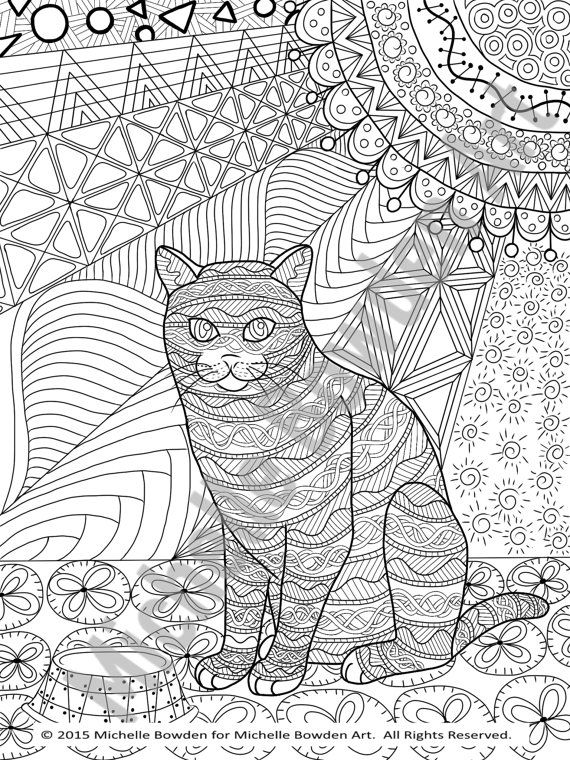 Coloring Page Printable Tabby Cat Zendoodle With Images Cat