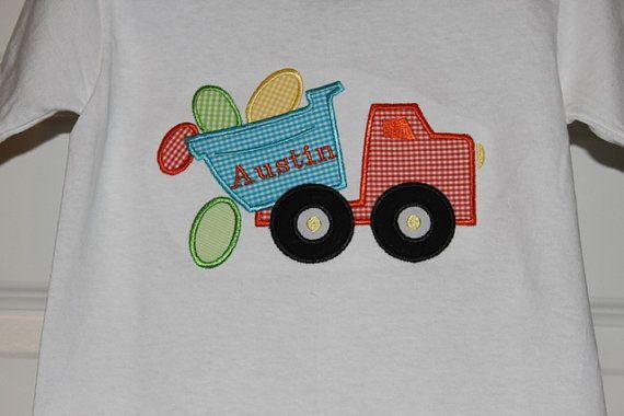Boys Easter Dump Truck Applique shirt