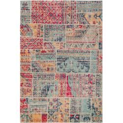 Photo of benuta flat woven carpet Stella multicolor / red 120×170 cm – vintage carpet in the used look benuta
