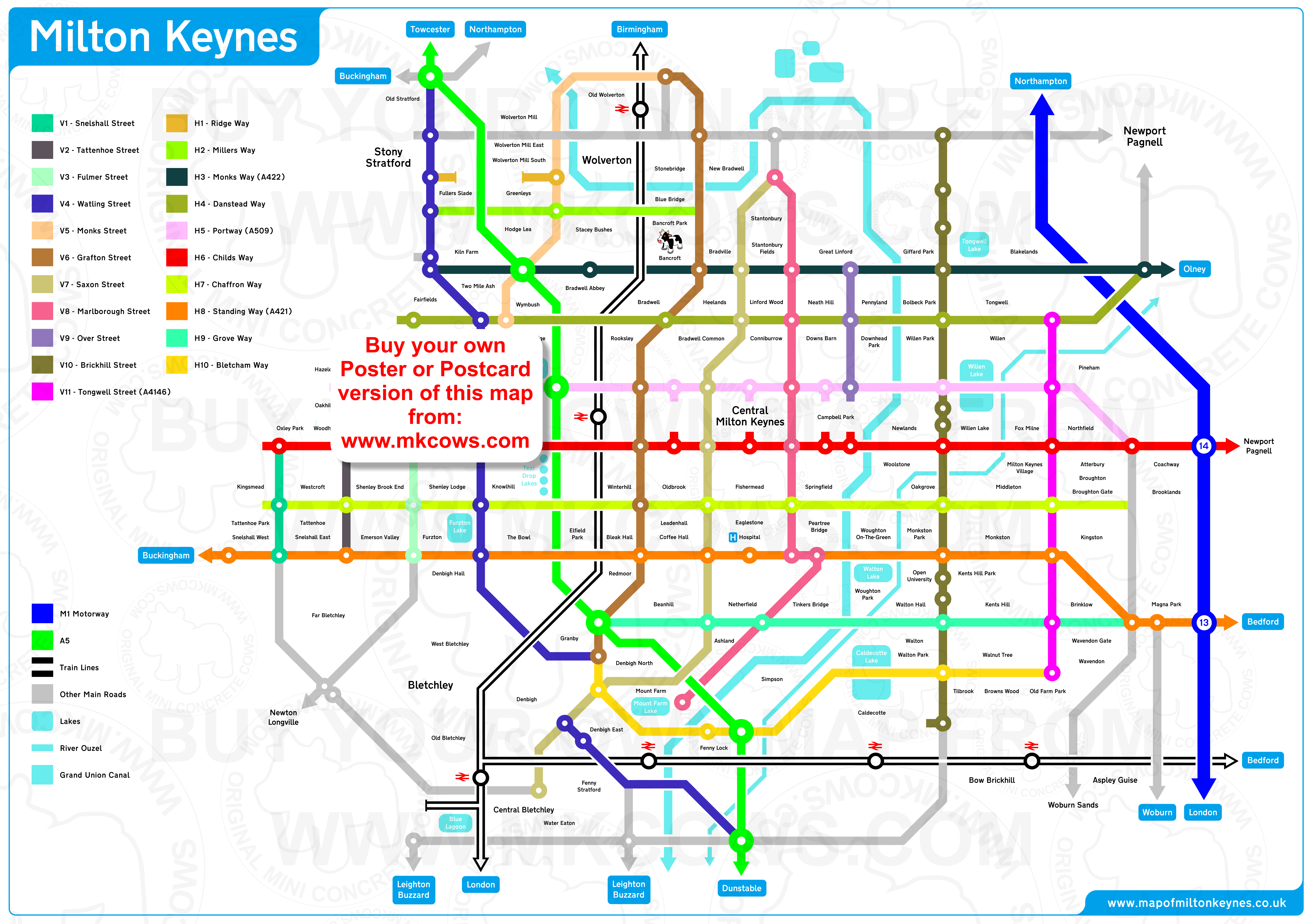 A fabulous new design for the MK grid system map based on London