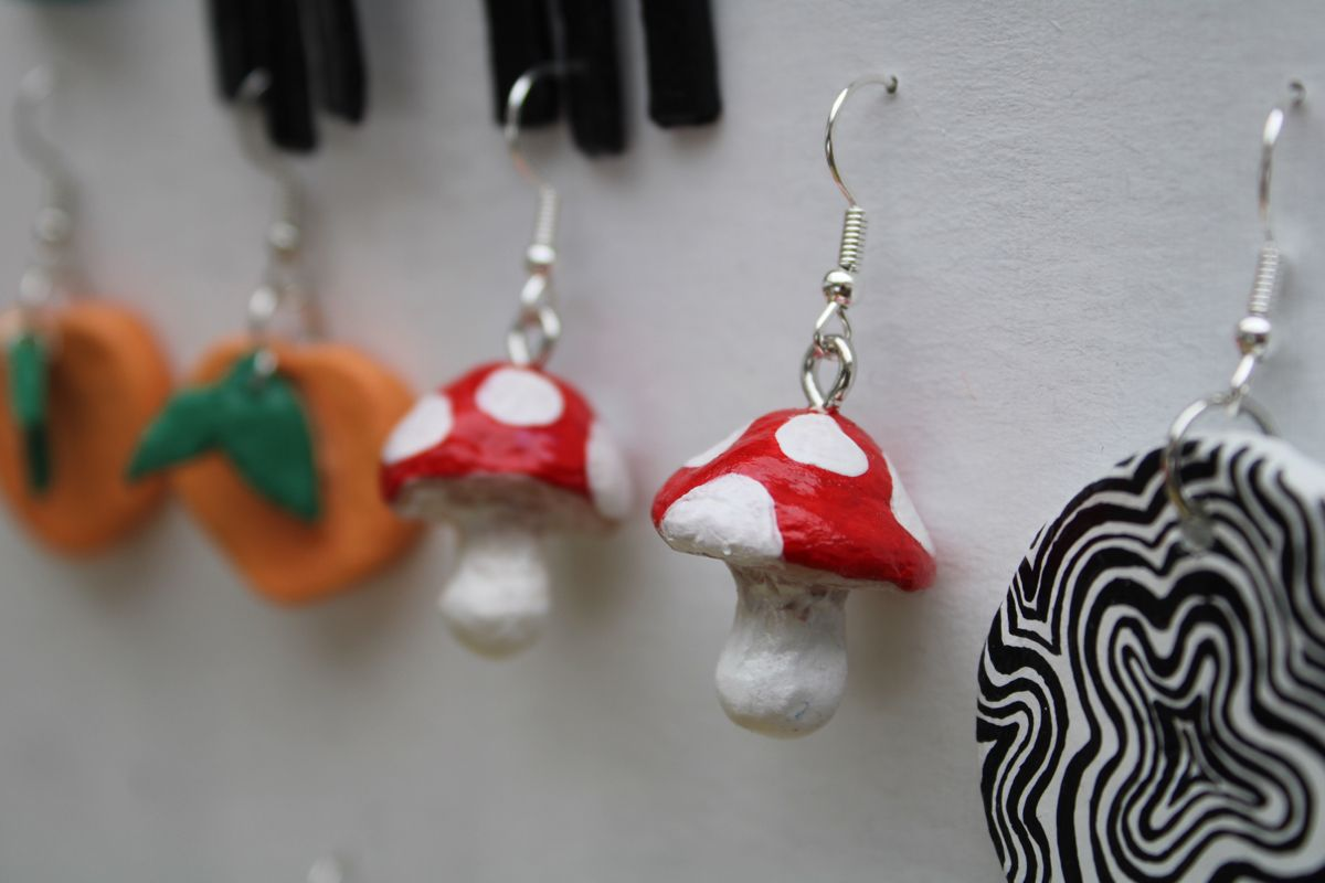 Handmade Clay Mushroom Earrings Clay Jewelry Diy Clay Crafts Air Dry Clay Crafts
