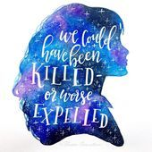 day 17 of #funwithgalaxies with @thewildhippies and Roxy and today's prompt is a harry potter quote💜💙✨ . . . . . #galaxysilhouette #brushlette...