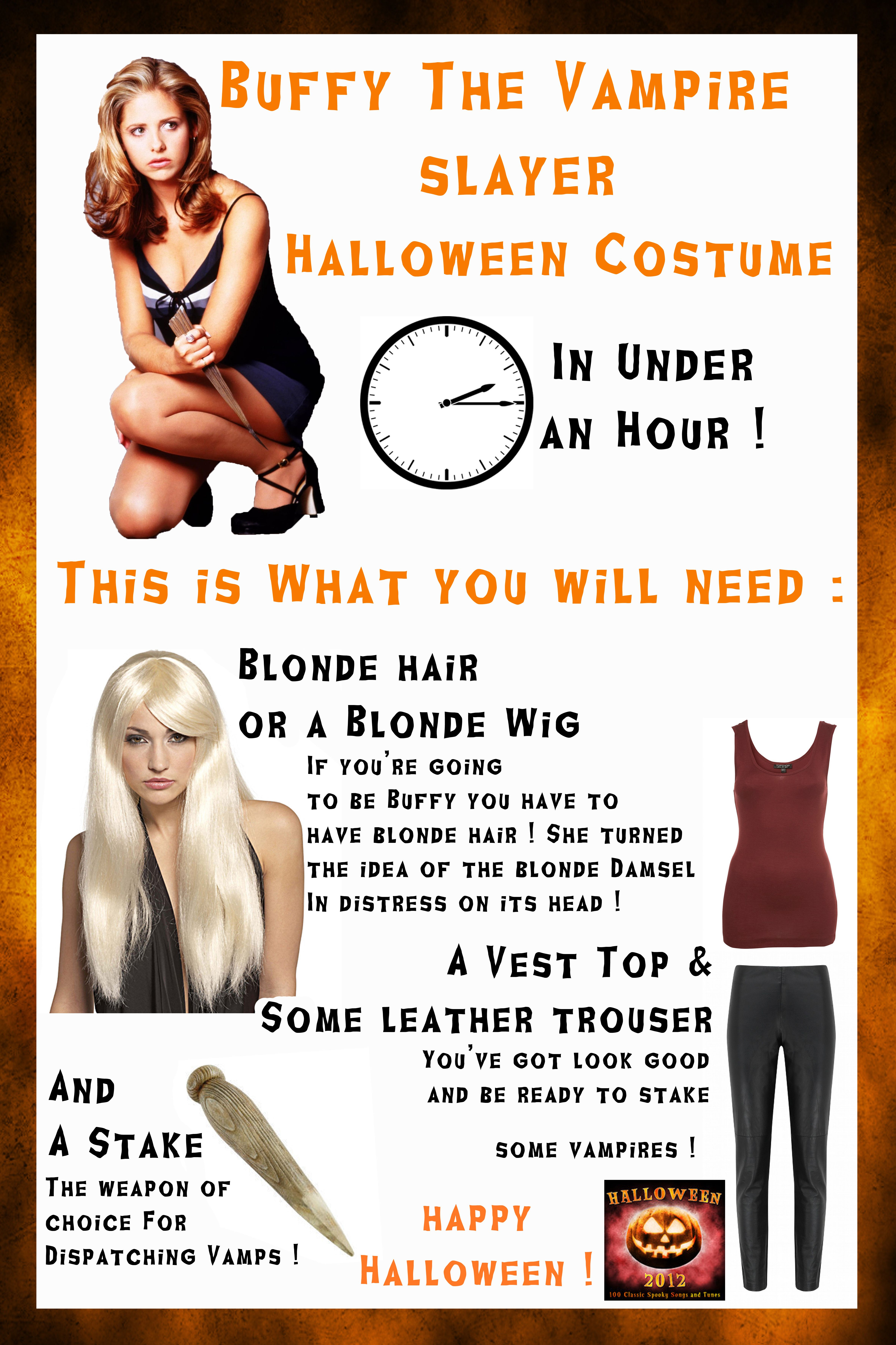 halloween costume in under an hour ! how to be buffy the vampire