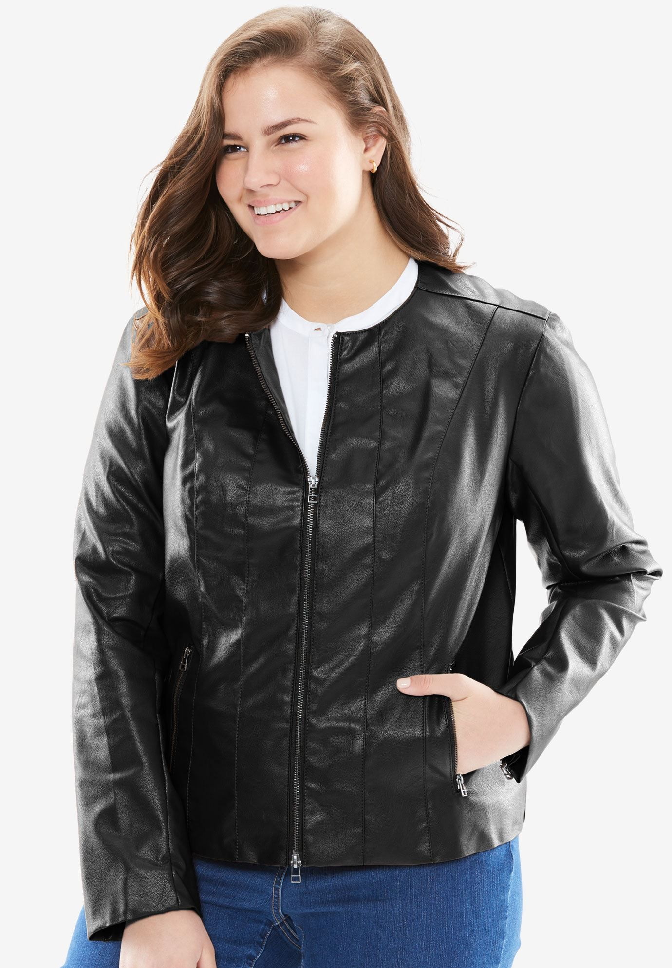 Plus Size Faux leather jacket Plus size leather jacket