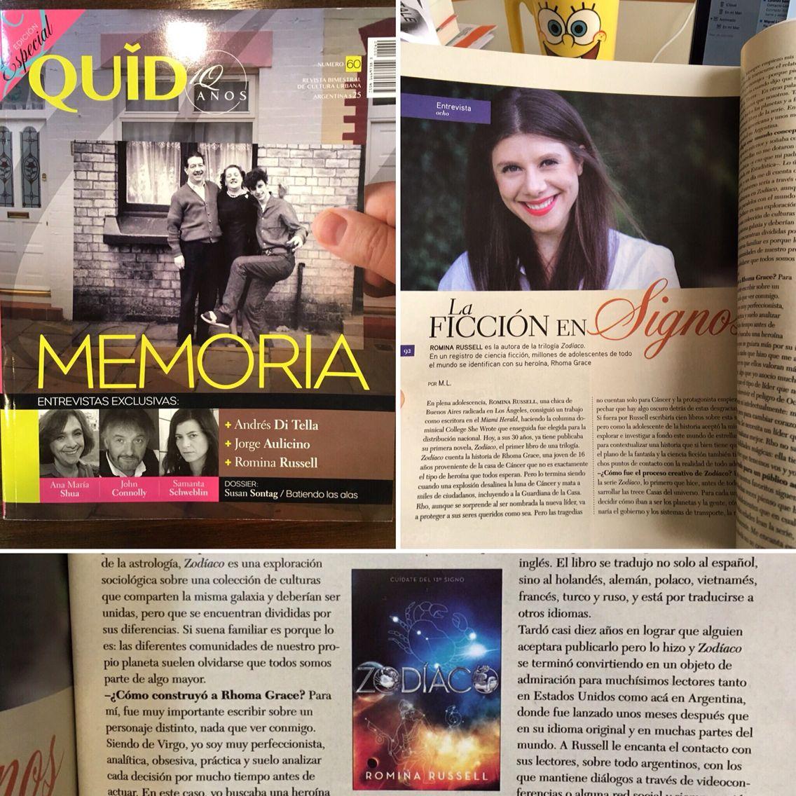 ¡¡¡Q honor estar en la revista Quid de las librerías #Yenny!!! @delnuevoextremo #ZodiacBooks #Zodíaco #RominaRussell #Argentina ❤️❤️❤️