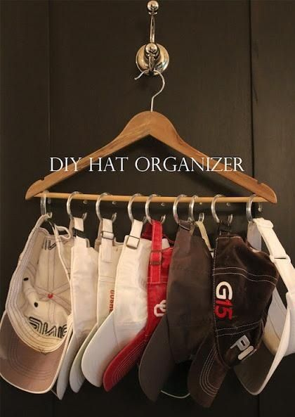 I gave this a shot; however it was a Pinterest fail for us.  All of the hats would slide one way or the other and it was never neat and tidy or easy to get one off.  Just didn't work for us.  Hat organization...now I think I could do this!