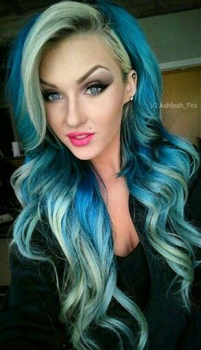 blue two tone dyed hair