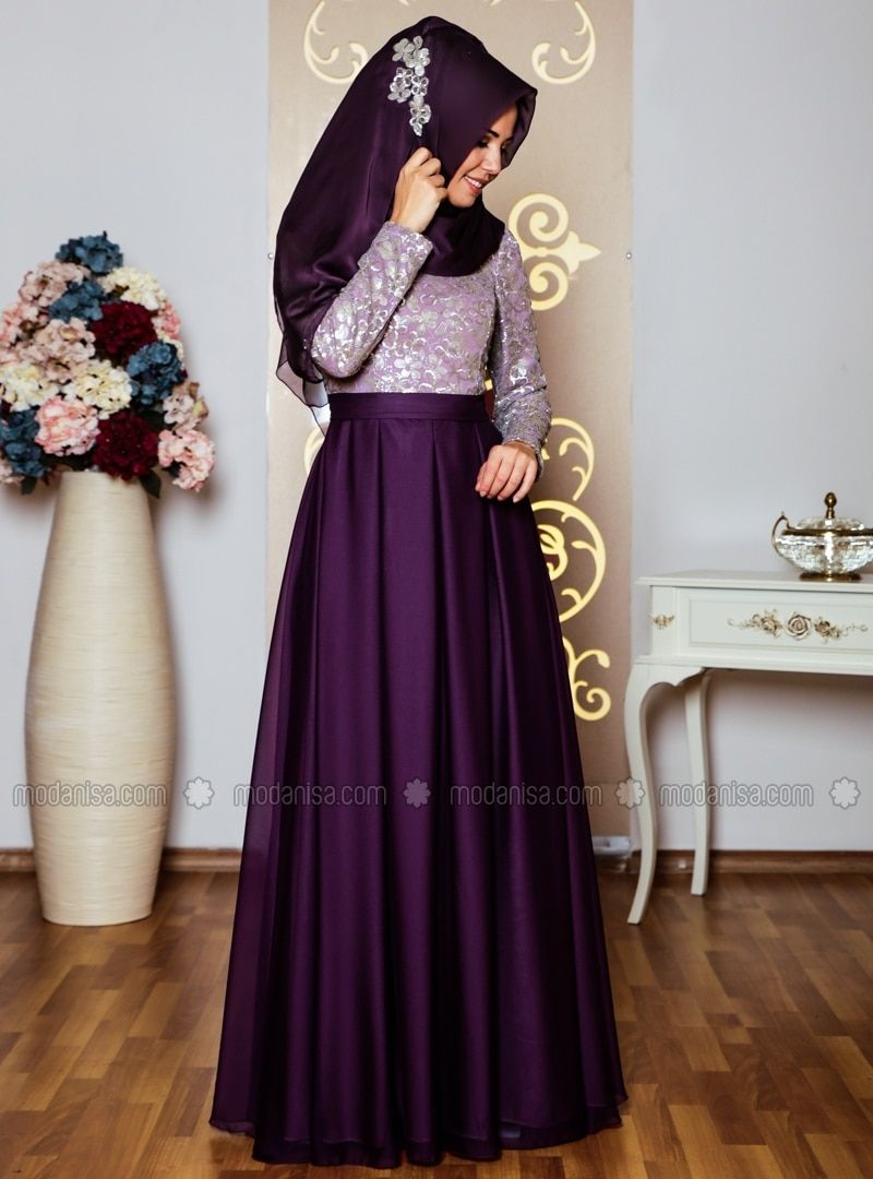 dbcaafe6423 Crew neck - Fully Lined - Floral - Purple - Muslim Evening Dress ...