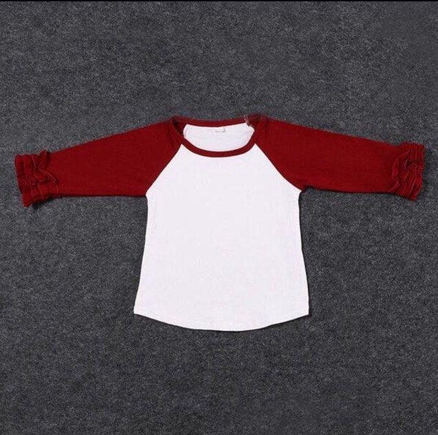 Ruffle Raglan Maroon Girls Clothing Baseball Shirt Boutique