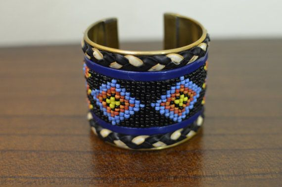 Blue & Black Native Cuff Beaded Bracelet,  by oRadhaO on Etsy