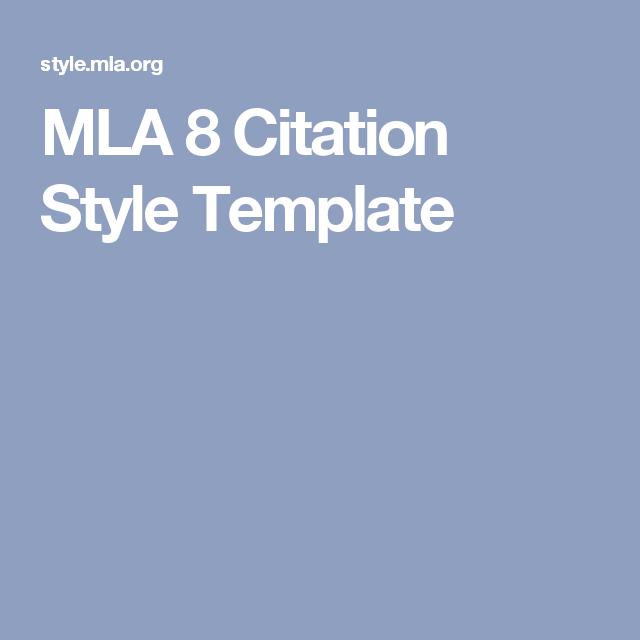 mla 8 citation style template