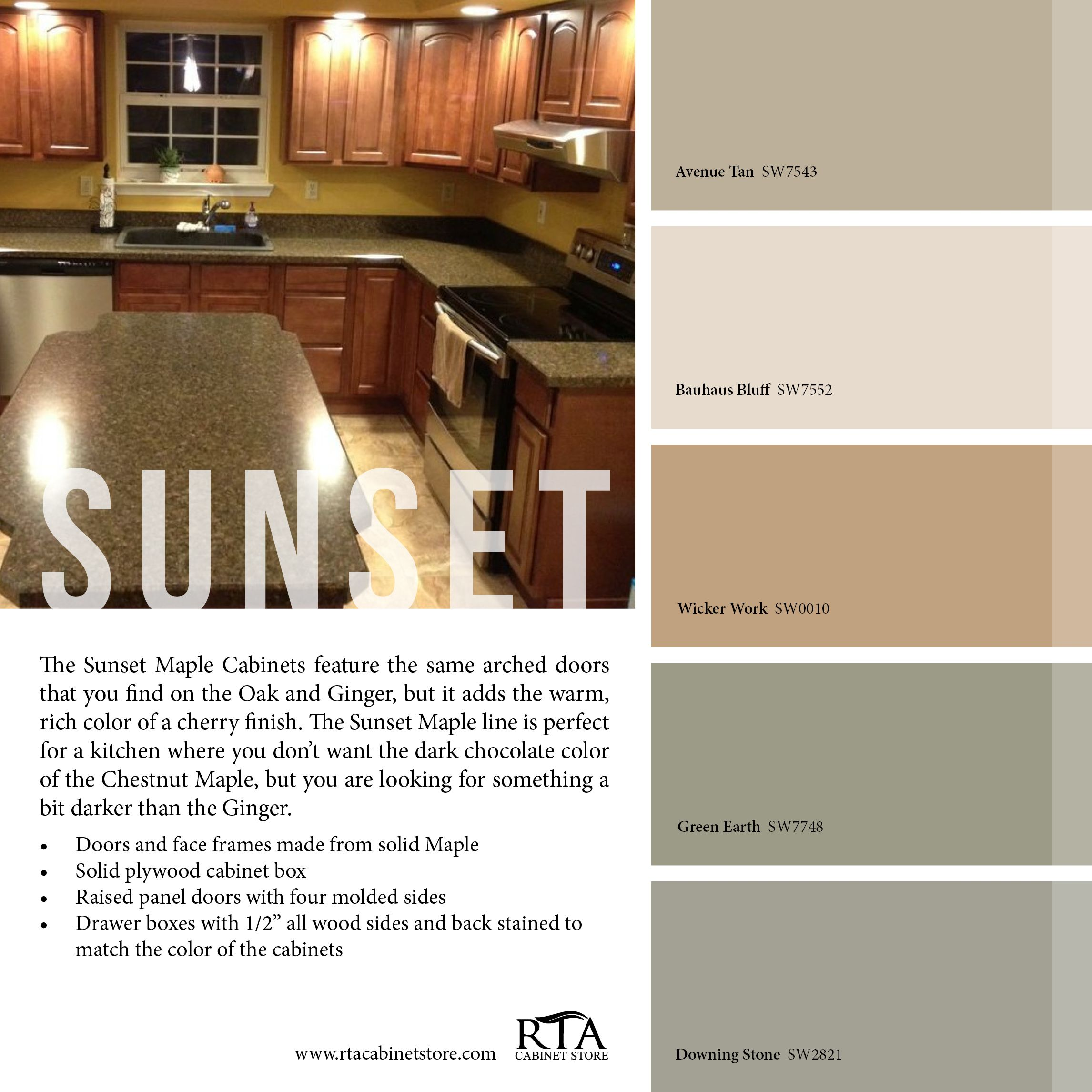 Five No Fail Palettes For Colorful Kitchens: Color Palette To Go With Our Sunset Maple Kitchen Cabinet