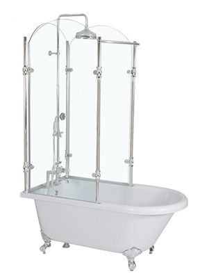 Attirant Oasis Vintage Antique Clawfoot Tub With Glass Shower Surround