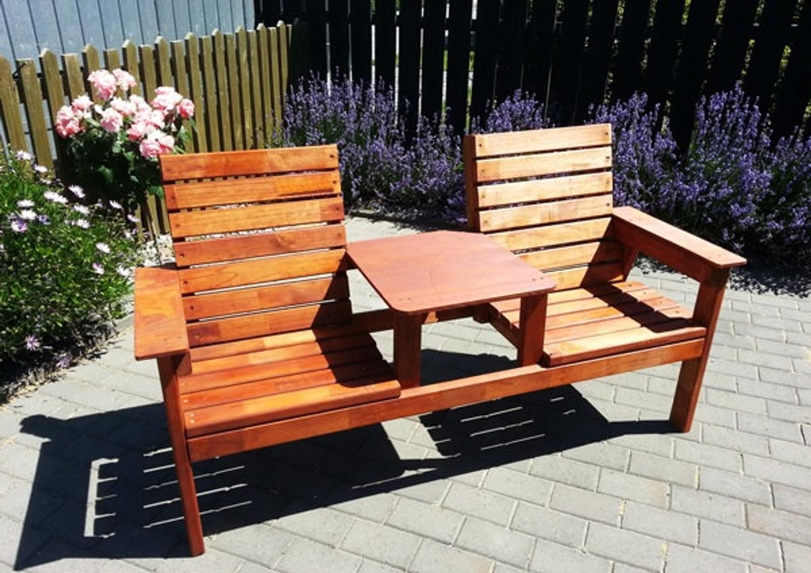 Double Seat Bench With Table Plans (With images) | Diy ...