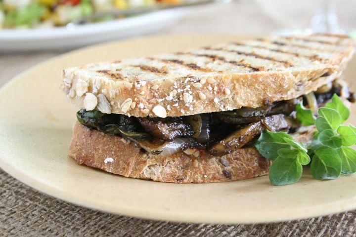 Pressed Four Cheese  Portobello Mushroom Sandwiches with Sage