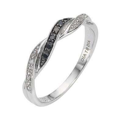 9ct White Gold Treated Black Diamond Twist Ring Ernest Jones White Gold Chic Rings Twist Ring
