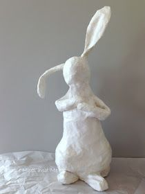 Recycled Decoupaged Paper Mache Bunny - Update #paperprojects
