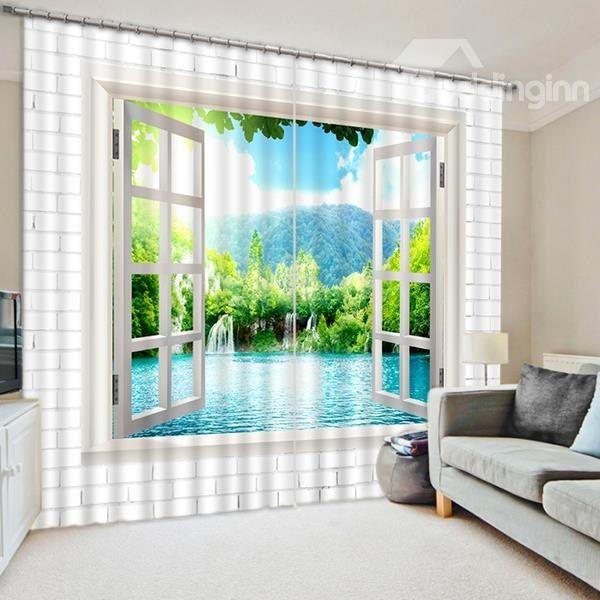 White Castle Sailing 3D Curtain Blockout Photo Printing Curtains Drape Fabric