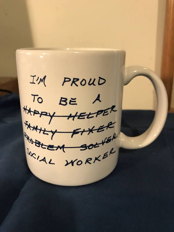 Social Worker Mug White Navy Blue Letters Cocoa Coffee Tea Milk