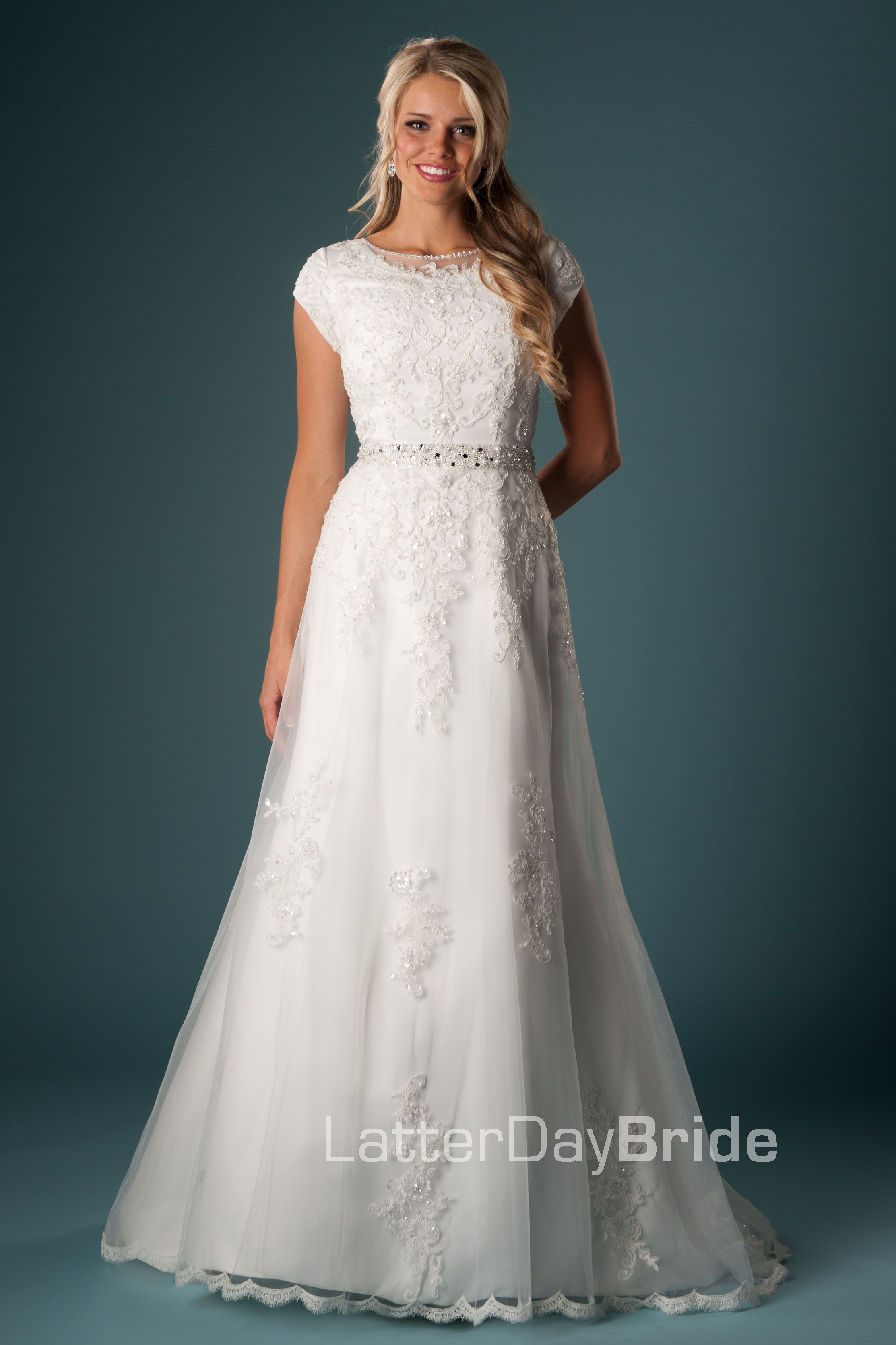 Abelardo - This simple silhouette is adorned with lovely lace appliques and trim. The soft lace illusion neckline adds an interesting touch to this modest bridal gown. Available Sizes: 0-34 $1095.00